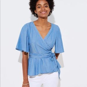 LOFT CHAMBRAY WRAP TOP IN COLDWATER CHAMBRAY